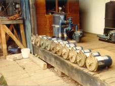 Pumps lined up for testing in our old showroom in 1982